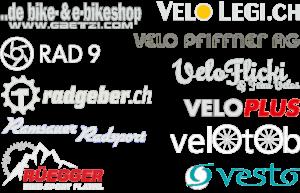 Logos von: gaetzi.com, velolegi.ch rad9, Velo Pfiffner AG, radgeber.ch, Veloflick & feini Velos, Ramsauer Radsport, veloplus velotob, Rüegger Bike Sport, Vesto