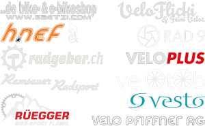 Logos von: gaetzi.com, rad9, Velo Pfiffner AG, radgeber.ch, Veloflick & feini Velos, Ramsauer Radsport, veloplus velotob, Rüegger Bike Sport, Vesto